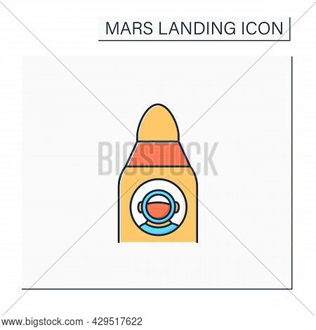 Spaceship Color Icon. Astronaut Inside Spaceship. Ready For Fight. Cosmos Research. Responsible Miss
