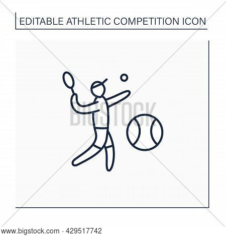 Tennis Line Icon. Racket, Individual Sport. Racquet Hit Ball Over Net Into Opponents Court. Athletic