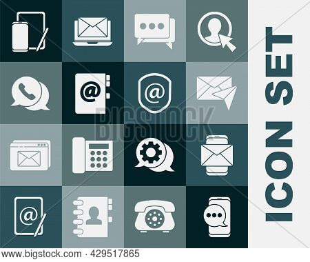 Set Chat Messages Notification On Phone, Mobile And Envelope, Envelope, Speech Bubble Chat, Address