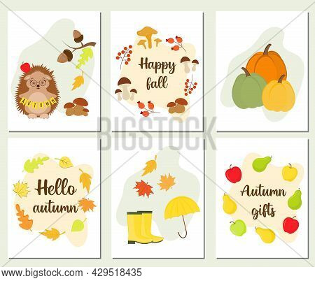 Autumn Seasonals Templates With Cute And Cozy Elements. Set Of Hello Autumn Posters And Cards For Th