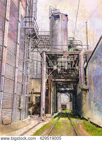 Railroad At A Modern Grain Terminal. Grain Terminal Of A Modern Seaport. Delivery Of Grain Cargo By