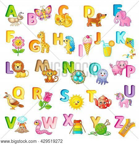 Abc Poster With Capital Letters Of The English And Cute Cartoon Animals And Things. Poster For Kinde