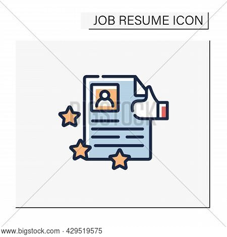 Best Job Resume Color Icon. High Rating. Best Employment Candidate. Personal Recruitment Information