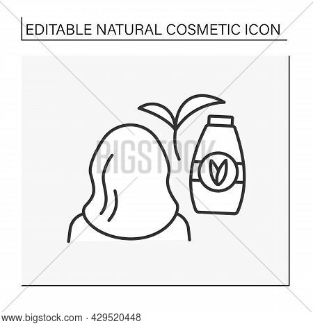 Cosmetology Line Icon. Hair Beauty Procedure. Shampoo To Moisturize And Strengthen Hair.natural Cosm