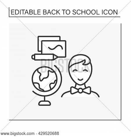 Geography Line Icon. Schoolboy Learns Geography. Globe And Notebook. Education Concept. Isolated Vec
