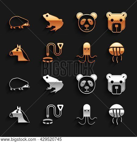 Set Collar With Name Tag, Bear Head, Jellyfish, Octopus, Horse, Cute Panda Face, Hedgehog And Frog I
