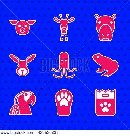 Set Octopus, Paw Print, Bag Of Food, Frog, Macaw Parrot, Rabbit Head, Hippo Or Hippopotamus And Pig