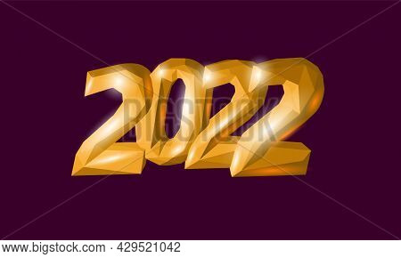 2022 New Year 3d Metal Texture. Glowing Shape Golden Red Number Illustration. Celebration Decoration