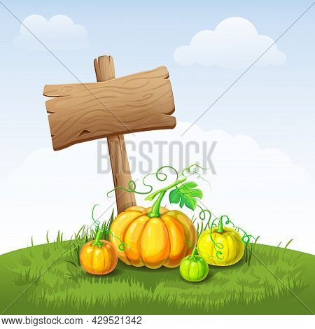 Beautiful Autumn Landscape With Pumpkins And Wooden Signboard. Illustration Of Fall Harvest With Bla