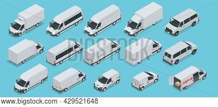 Isometric Logistics Icons Set Of Different Transportation Distribution Vehicles, Delivery Elements.