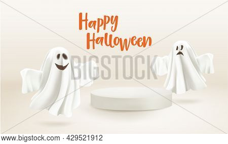 Happy Halloween. Ghosts With Empty White Podium For Your Product. Mockup. Ghosts On Beige Background