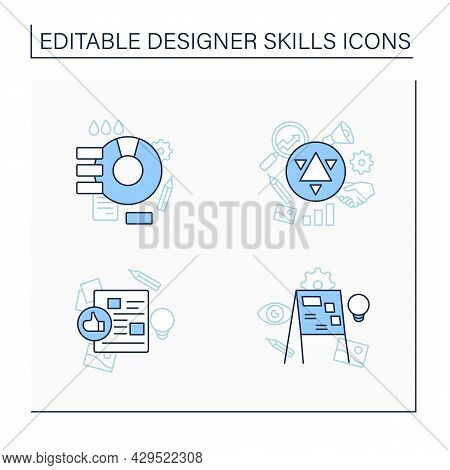 Designer Skills Line Icons Set. Create New Projects, Generate Ideas.branding, Design Brief, Color Th
