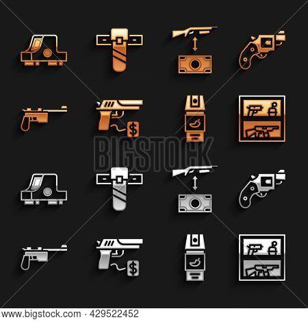 Set Buying Gun Pistol, Small Revolver, Hunting Shop Weapon, Pepper Spray, Mauser, Assault Rifle, Col