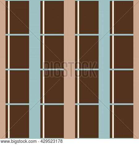 Vector Blue Brown Grid Checkered Seamless Pattern