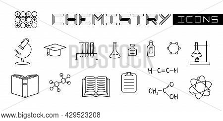 Set Of Linear Isolated Elements For Chemistry. Chemical Test Tubes, Flasks For Experiments, Formulas