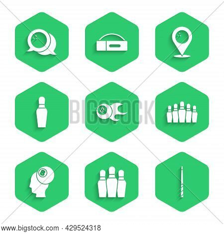 Set Billiard Ball, Bowling Pin, Cue, Location With Bowling And Icon. Vector
