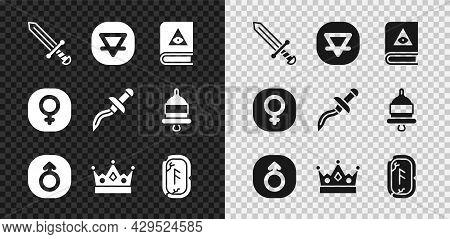 Set Medieval Sword, Earth Element, Ancient Magic Book, Mars, King Crown, Magic Runes, Venus And Dagg