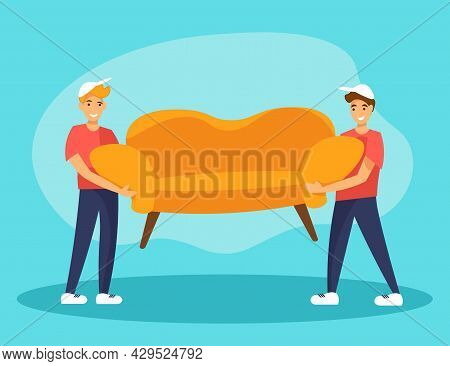 Two Deliverymen Carrying Sofa. Furniture Delivery Service Or Relocation Concept. Flat Cartoon Style