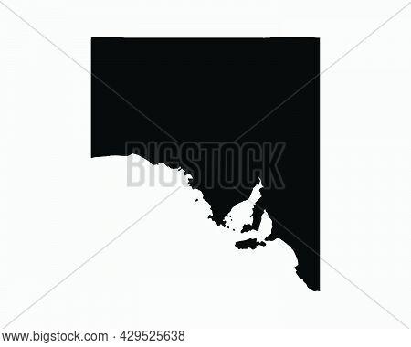 South Australia Map Black Silhouette. Sa, Australian State Shape Geography Atlas Border Boundary. Bl
