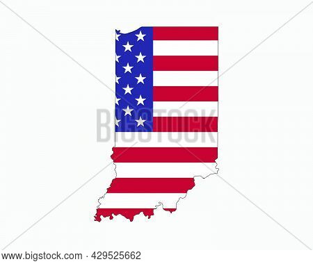 Indiana Map On American Flag. In, Usa State Map On Us Flag. Eps Vector Graphic Clipart Icon