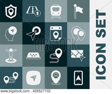 Set City Map Navigation, Location, Train, Infographic Of City, With Person, Shield And Travel Planni