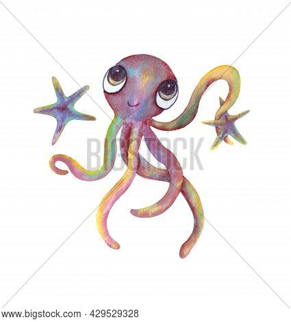 An Octopus Holds A Starfish With A Tentacle. Marine Animal, Isolated On A White Background. Cute Cha