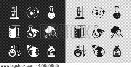 Set Test Tube Flask On Stand, Atom, Basic Geometric Shapes, Earth Globe, Medicine Bottle Pills, Heig