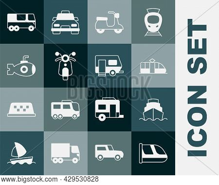 Set Train And Railway, Cruise Ship, Tram, Scooter, Submarine, Bus And Rv Camping Trailer Icon. Vecto