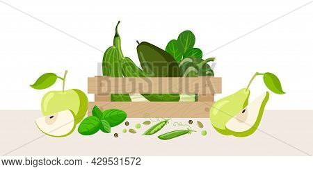 Wooden Box With Green Vegetables, Fruits, Greens. Green Halthy Food In Wooden Box Isolated On White.