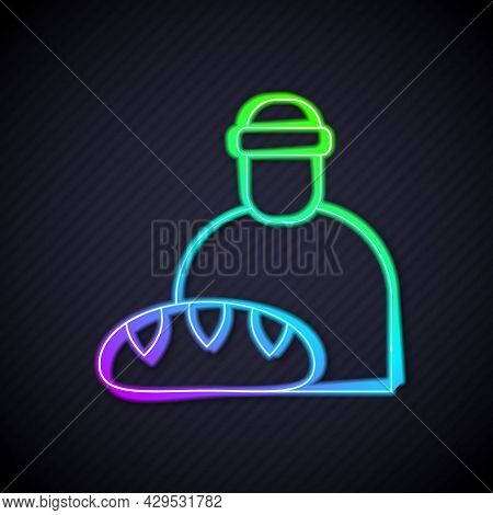 Glowing Neon Line Feeding The Homeless Icon Isolated On Black Background. Help And Support. Giving F