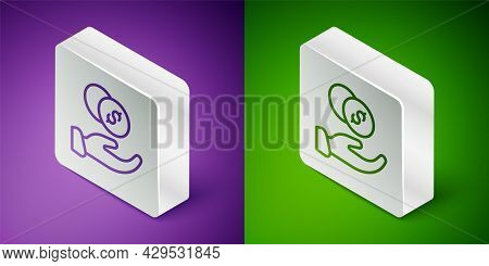 Isometric Line Donation Hand With Money Icon Isolated On Purple And Green Background. Hand Give Mone