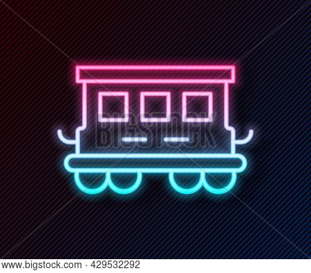 Glowing Neon Line Passenger Train Cars Toy Icon Isolated On Black Background. Railway Carriage. Vect