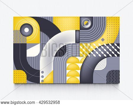 Geometric Grid With Curved Lines Abstract Vector Illustration