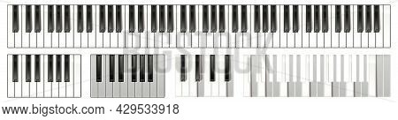 Musical Instrument Layout With Active Keys For Animation. Realistic Vector Illustration
