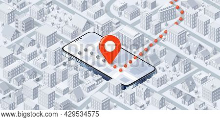 Pin Point On Smartphone Map, Route Through City Vector Illustration