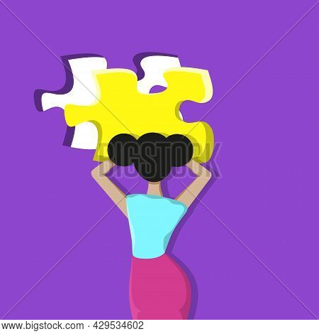 Girl Fitting Puzzle Pieces. Mental Rehabilitation, Psychotherapy Concept. Vector Illustration.