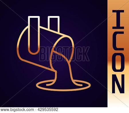 Gold Line Molten Gold Being Poured Icon Isolated On Black Background. Molten Metal Poured From Ladle