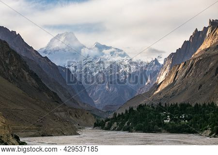 Masherbrum Mountain View From Hushe Valley . High Quality Photo