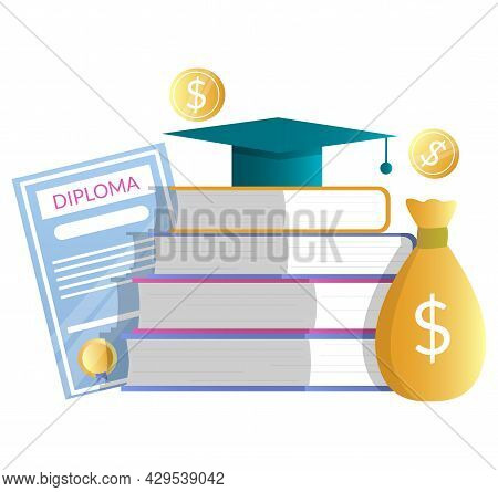 Diploma, Money Bag, Books, Academic Hat, Vector Illustration. Education Cost. Tuition Fee, Knowledge
