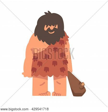 Primitive Man Character From Stone Age Wearing Animal Skin And Holding Bludgeon Vector Illustration
