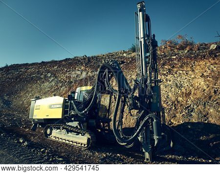 Atlas Copco Flexiroc Crawler Drilling Rig At Construction Site. Istanbul, Turkey - December 2019