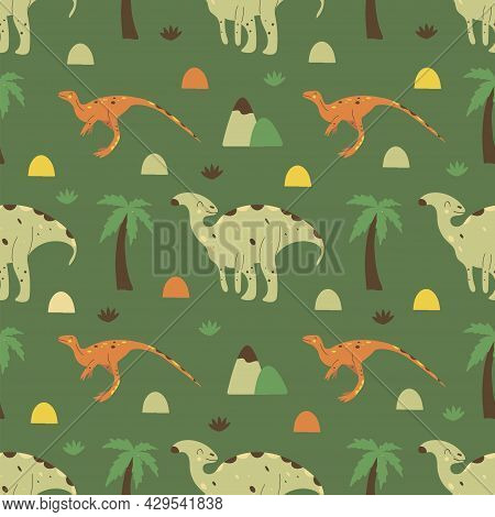 Seamless Pattern Dinosaurs Parasaurolophus And Gallimimus. Omnivorous Animal, Extinct Ancient Reptil