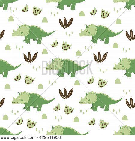 Seamless Pattern Triceratops Dinosaur. Large Herbivore, Extinct Ancient Lizard With Horn, Jurassic P