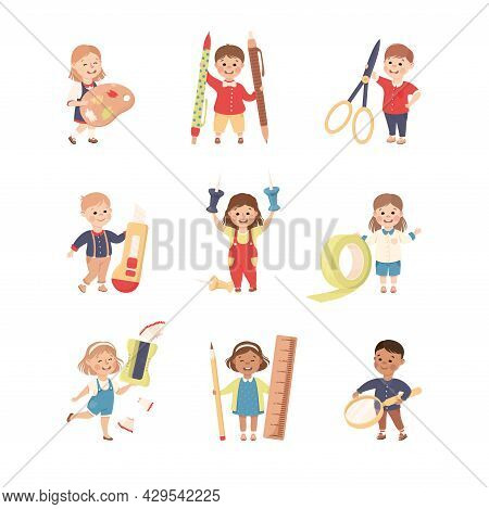 Cute Children With Huge School Stationery Like Palette And Scissors Vector Set