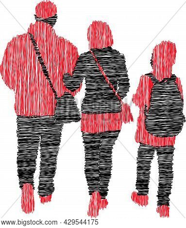 Scribble Drawing Of Silhouettes Family Citizens Walking Outdoors
