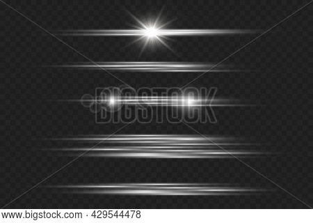 Set Horizontal Lens Flares Pack. Laser Beams, Horizontal Light Rays.beautiful Light Flares. Png. Vec