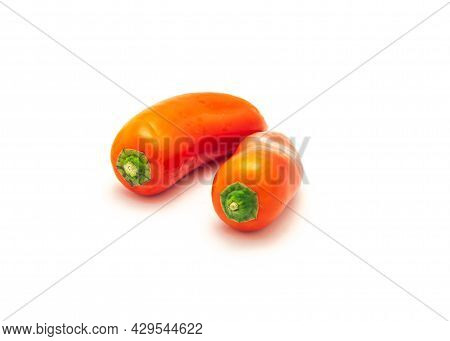 Two Organic Red Mini Sweet Peppers Snack Isolate On White