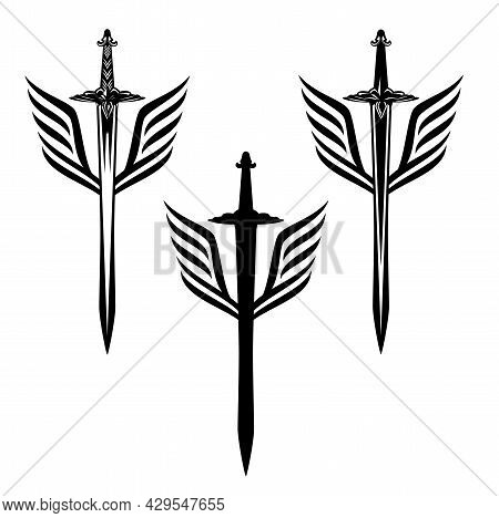 Winged Sword Blade  Black And White Vector Design For Guard And Security Concept Insignia