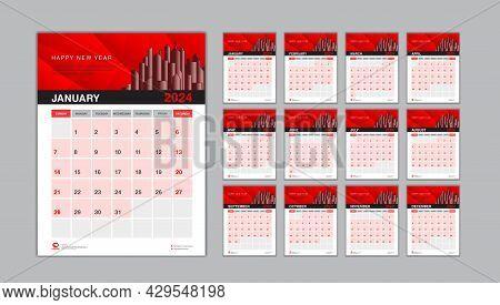 Wall Calendar 2024 Template Red Background, Desk Calendar 2024 Design, Calendar Minimal Design, Plan
