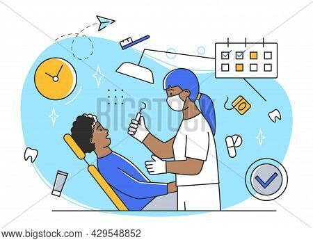 Young Male Character At The Dentist Appointment. Cute Man Is Having His Teeth Cured By Doctor. Exami